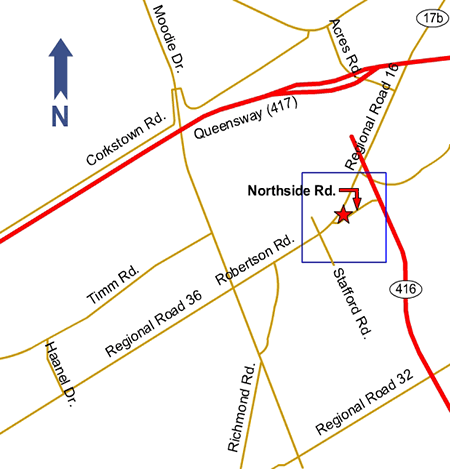 Road map showing the location of Nepean Flooring